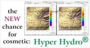 Effetto sulla pelle del viso del prodotto Hyper Hydro un nuovo ingrediente per la cosmetica